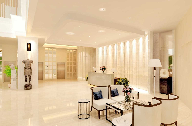 Foto inspirasi ide desain lobby kontemporer Lobby-hotel-classic-mix-modern-styleright-seating-area-to-reception-jpg oleh Rinto Katili di Arsitag