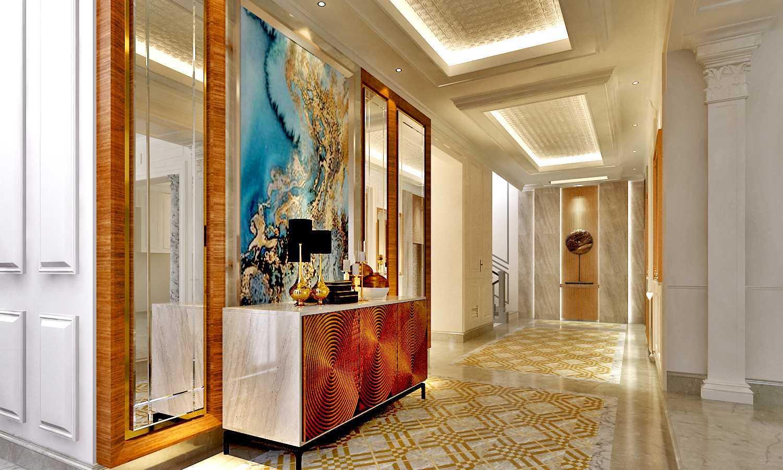 Foto inspirasi ide desain rumah klasik Wall-treatment-for-dining-area corridor-area- oleh Rinto Katili di Arsitag