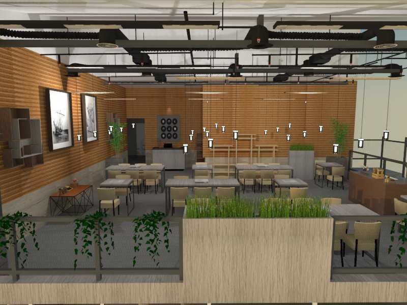Foto inspirasi ide desain restoran asian Seating area restaurant oleh Jari Vogest di Arsitag